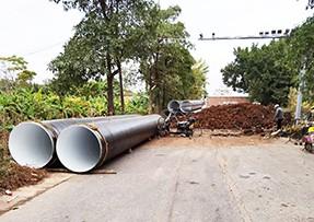 污水提升站过江管道开始安装施工
